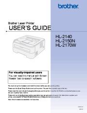 Brother HL-2140 HL-2150N HL-2170W Laser Printer Users Guide page 1