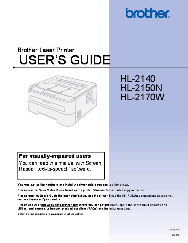 brother hl 2140 hl 2150n hl 2170w laser printer users guide. Black Bedroom Furniture Sets. Home Design Ideas