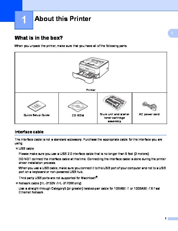 Brother hl-2140 mono laser printer manual download