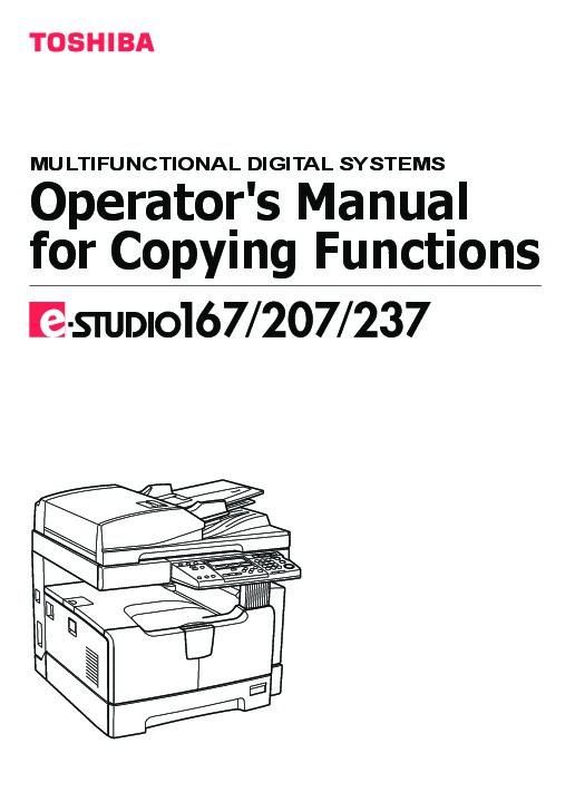 toshiba e studio 167 207 237 printer copier owners manual rh computer equipment needmanual com toshiba user's guide pdf toshiba user's guide satellite c55