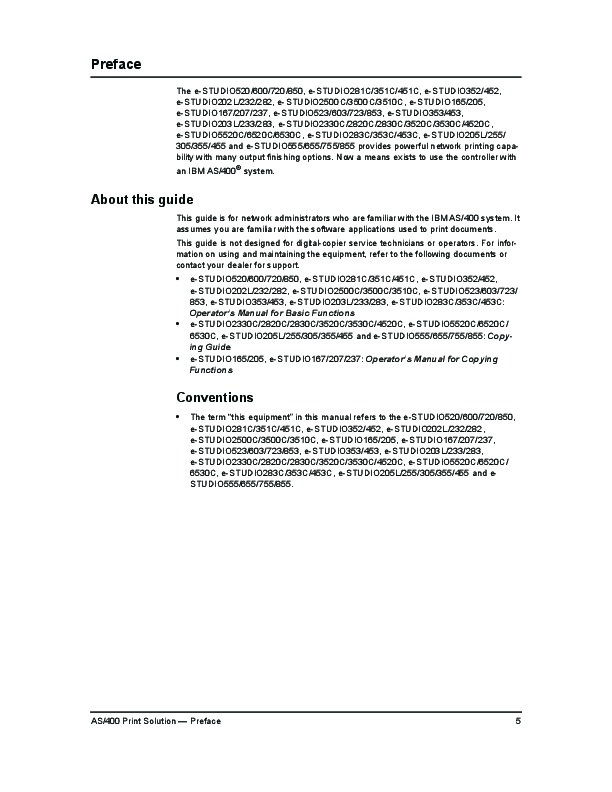 Toshiba E-Studio 520 600 720 850 281c 351c 451c 352 452 AS