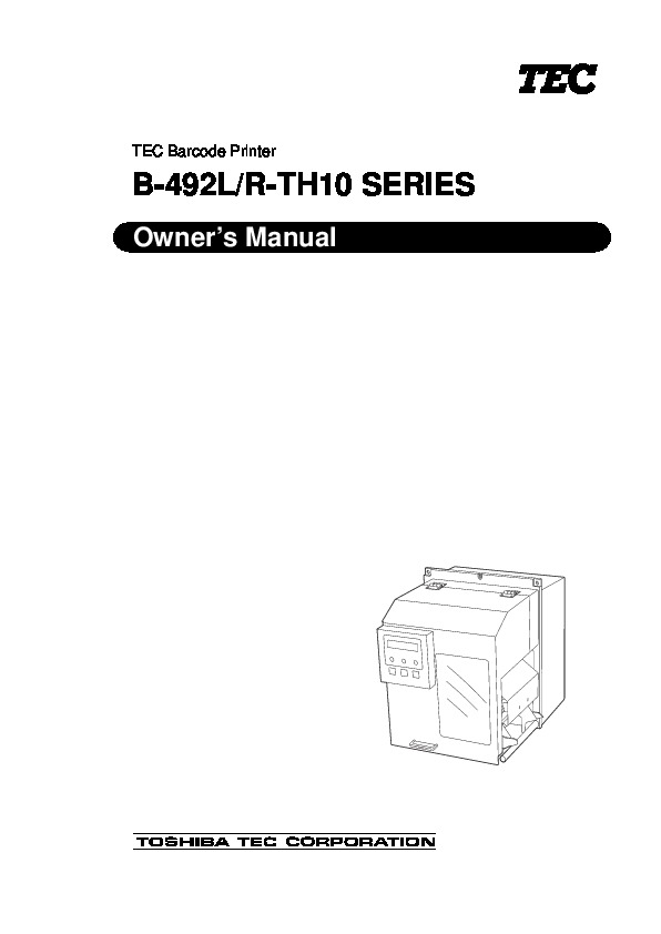toshiba tec b492l r th10 barcode printer owners manual rh computer equipment needmanual com Toshiba HD DVD Player Toshiba HD Camera