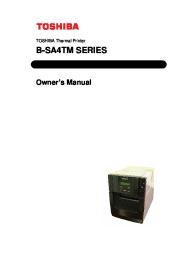 Toshiba B-SA4TM Thermal Printer Owners Manual page 1