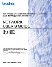 Brother Wireless Ethernet Print Server Users Guide HL-2150N HL-2170W User Guide page 1