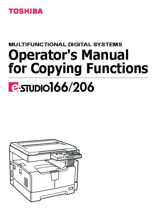 toshiba e studio 166 206 printer copier owners manual rh needmanual com toshiba e studio 203l service manual Toshiba E Studio 451C Super G 3